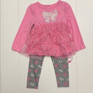 Pink Top With Layered Lace /  Leggings